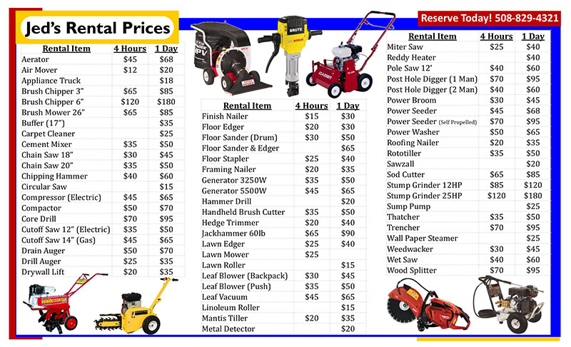 Jed's rental center pricing sheet
